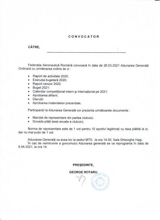COVOCATOR Adunarea Generală FAR - 26 martie 2021